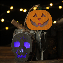 2019 New Year Halloween wooden Coloured lights Human skeleton pumpkin pendant Horror hanging DIY street light