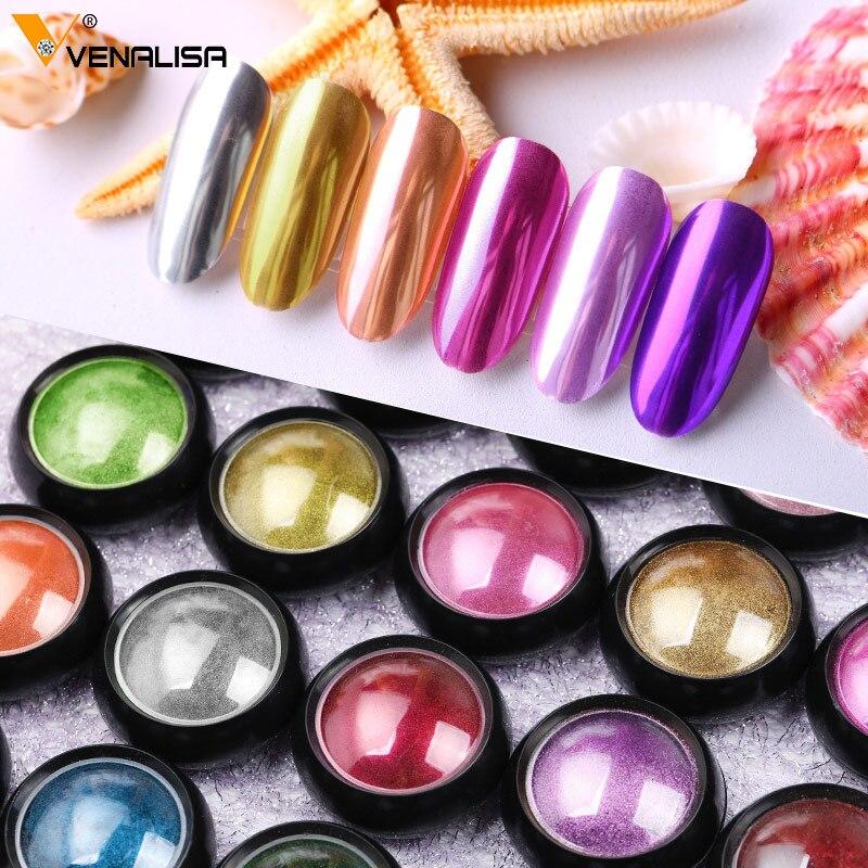 VENALISA-poudre acrylique avec paillettes métalliques, Nail Art, Gel, UV, vernis, flocons de Chrome, décoration de manucure