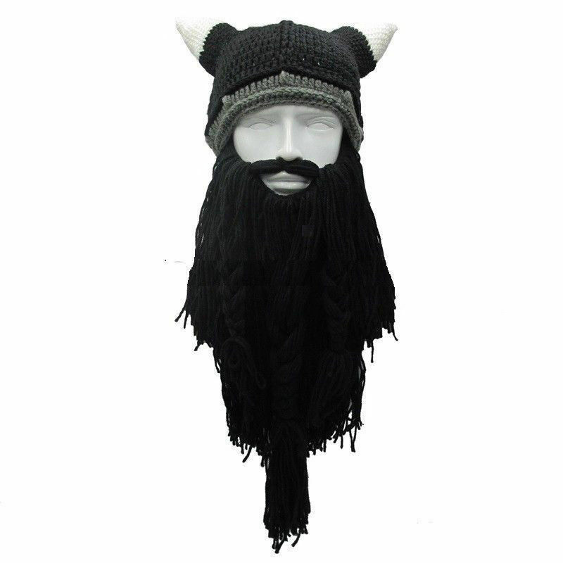 2020 Funny Men's Hat Viking Knitted Wig Long Beard Horn Hat Vagabond Barbarian Crazy Ski Cap Beanie Halloween