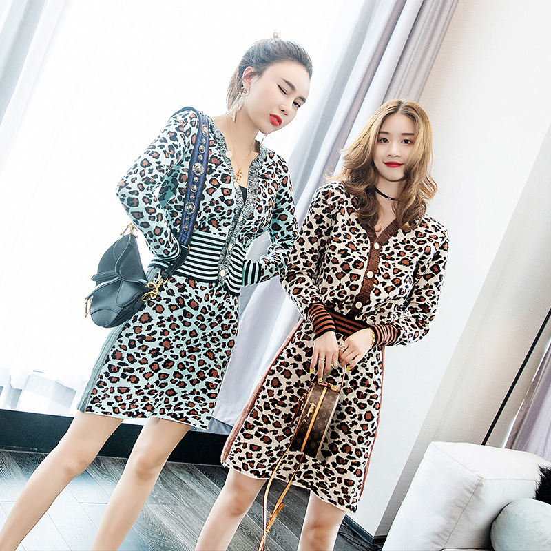 Two-piece Women's Suit Fashion New Temperament Commuter Leopard Knit Cardigan With Skirt Clothes 2 Piece Set Women