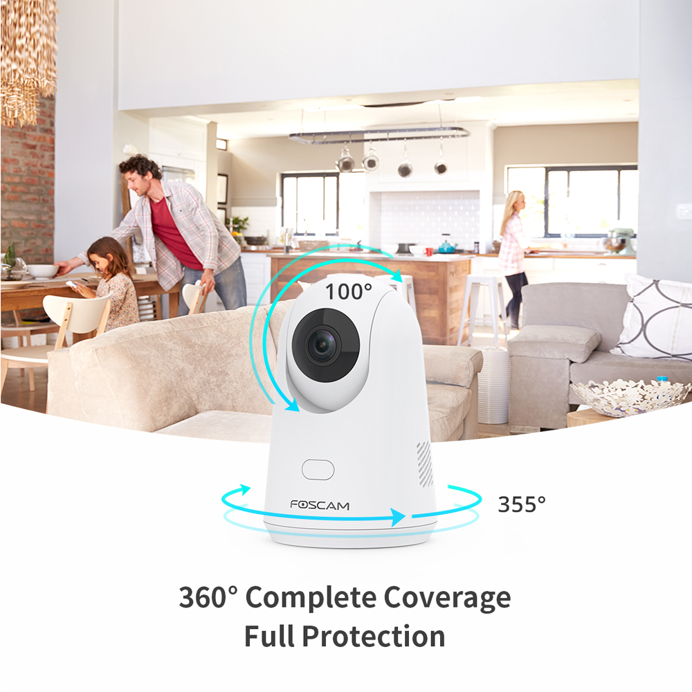 Human Detection Works with Alexa Night Vision WiFi Camera Indoor,Foscam X2 1080P Home Security IP Camera,Baby Monitor with Audio Cloud Storage Motion//Sound Detection