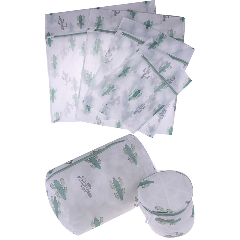 6 Sizes Polyester Mesh Wash Laundry Bag For Clothes Underwear Household Protected Lingerie Bra Washing Bag Cactus Printing Bags