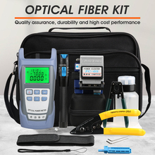 14 unids/set FTTH Kit de herramientas de fibra óptica con fibra Cleaver  70 ~ + 10dBm medidor de potencia óptica Localizador Visual de fallos 5km D