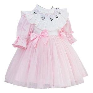 Infantile fille smocké robe enfants espagnol Boutique vêtements bébé broderie robes enfant en bas âge filles fait à la main smocks robe rose