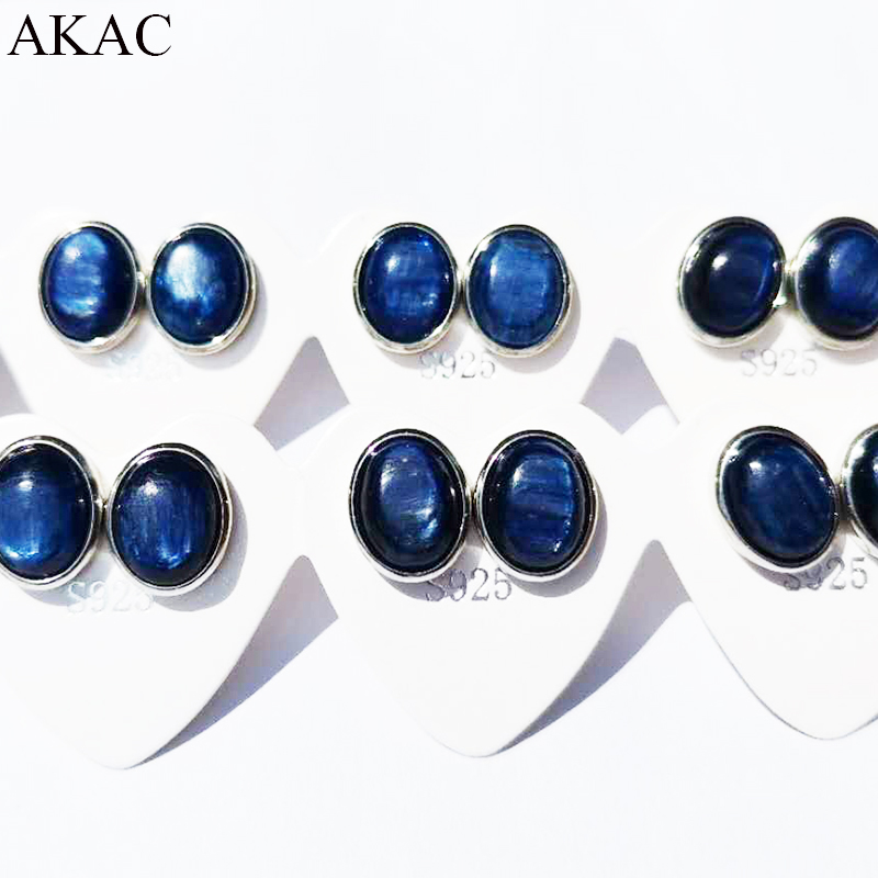 Free Shipping AKAC Approx6-7*8-9mm Natural Blue Kyanite Stud Earrings For Women Earrings