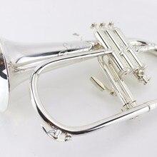 B плоский флюгелхорн медная Посеребренная Bb Труба высокого качества латунные Музыкальные инструменты рог с мундштуком