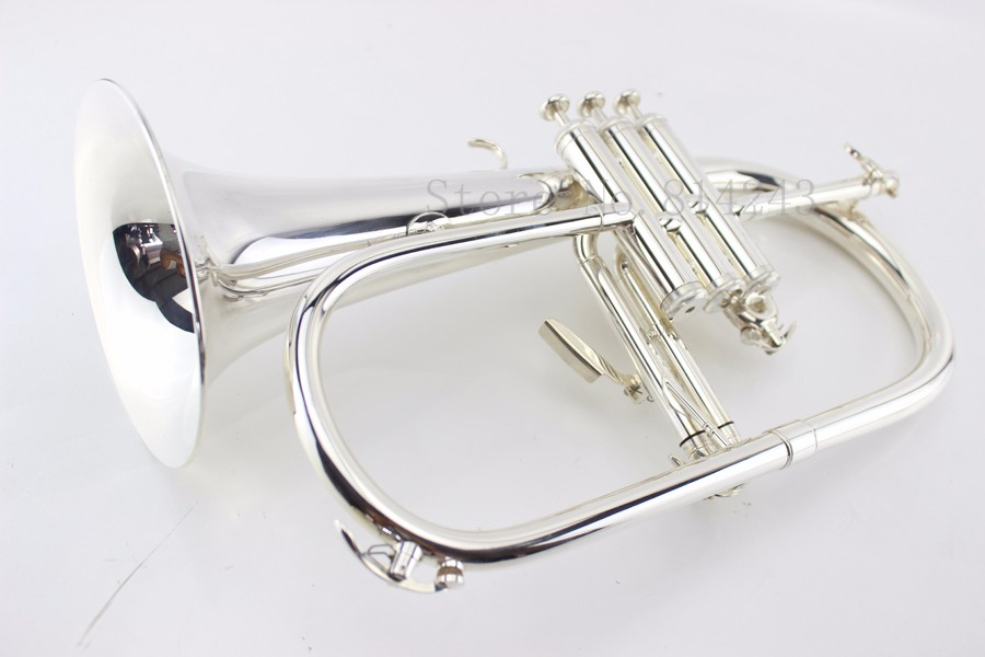 New B Flat Flugelhorn Brass Silver Plated Bb Trumpet High Quality Brass Musical Instruments Horn With Mouthpiece Free Shipping