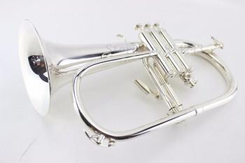 Nowy B płaskie Flugelhorn mosiądz posrebrzane Bb trąbka wysokiej jakości mosiądz instrumenty muzyczne róg z ustnik darmowa wysyłka tanie i dobre opinie MARGEWATE Żółty mosiądzu