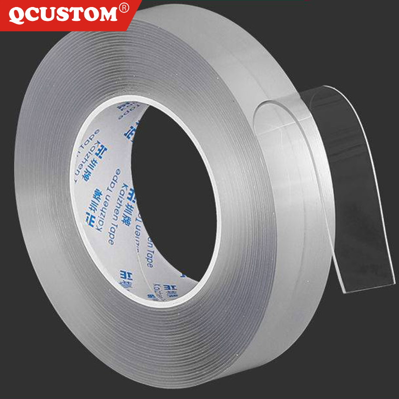 QCUSTOM Double-Sided Sticker Tape Gadget Glue Removable Adhesive Nano-Traceless-Tapes Washable Disks-Tie Acrylic Adhesives gekko