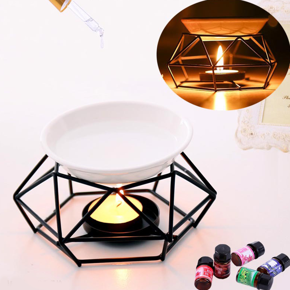 Indoor Spa Aroma Diffuser Crafts Oil Burner Gifts Aromatherapy Candle Home Decor Black Iron Yoga