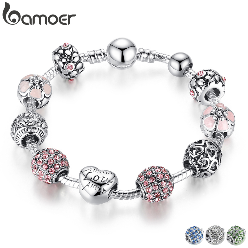 BAMOER Silver Plated Charm Bracelet & Bangle with Love and Flower Beads Women Wedding Jewelry 4 Colors 18CM 20CM 21CM PA1455(China)