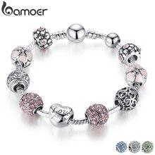 Pulsera de encanto de plata antigua BAMOER y brazalete con cuentas de amor y flor joyería de boda para mujeres 4 colores 18CM 20CM 21CM PA1455