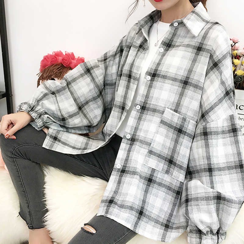 Camisas de mujer manga farol largo de cuadros modernas retro cómodo para mujer holgado tiempo libre estudiantes otoño camisa coreana Chic Simple