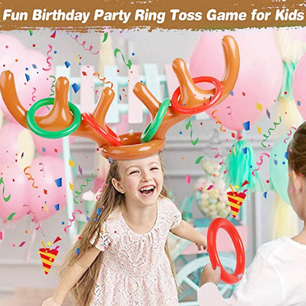 16/11pcs/set Inflatable Ring Toss Game Set Santa Funny Reindeer Antler Christmas Toy Kids Headgear Inflatable Hat Party Supplies