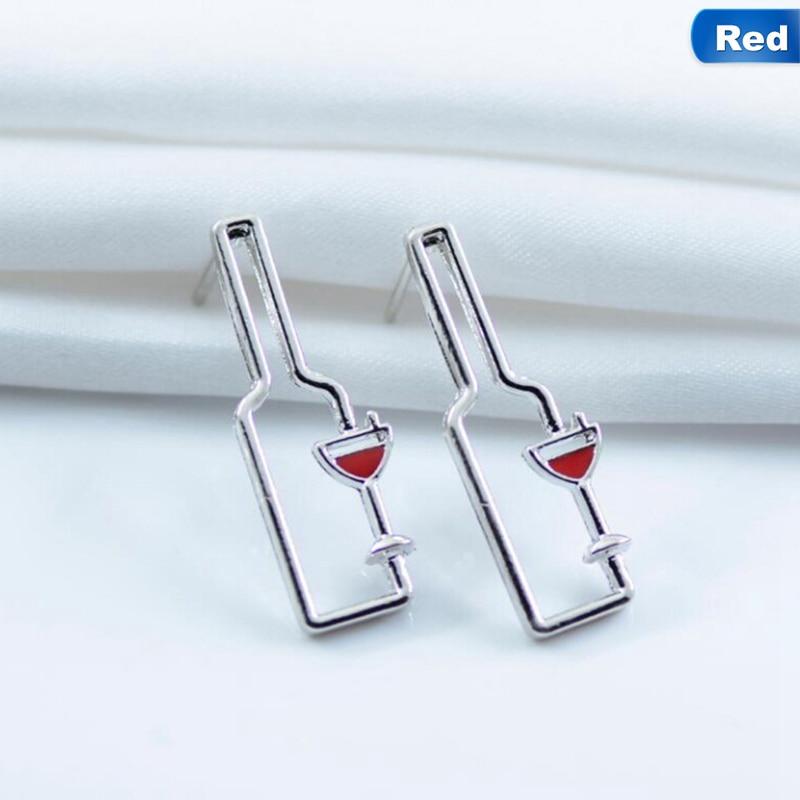 Simple Cute Design Metal Wine Bottle Drop Earrings Long Hollow Geometric Dangle Earrings Fashion Jewelry For Women
