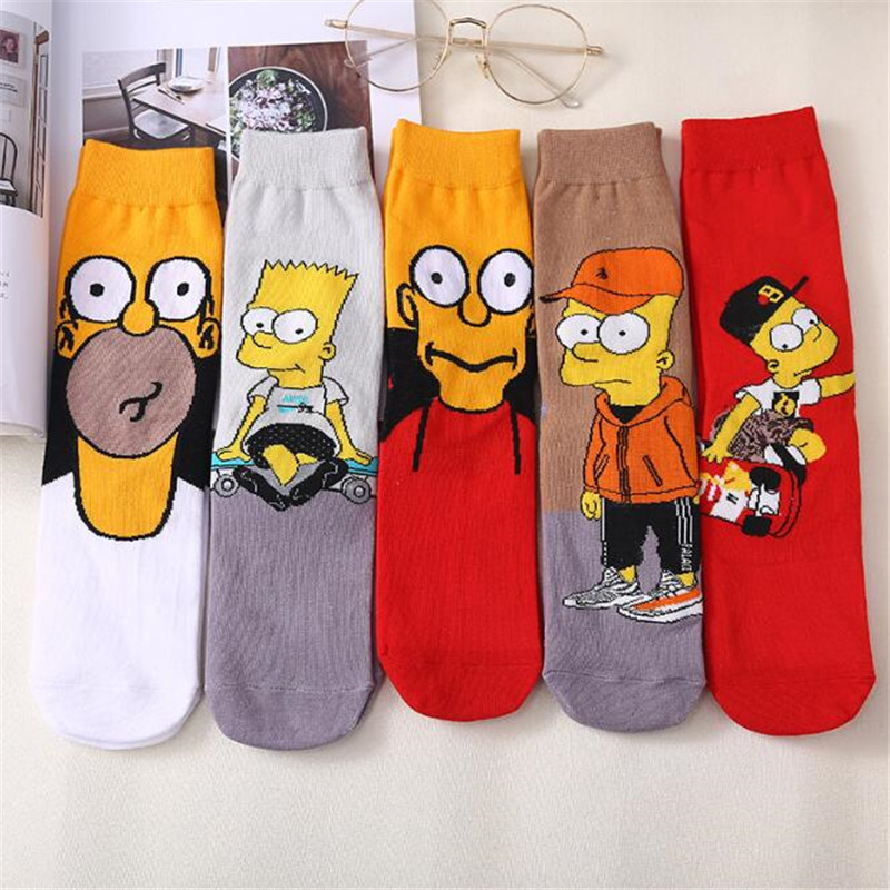 Couple Simpson Sesame Street Cartoon Cute Socks Kawaii GIrl Winter Warm Socks Funny Simpsons Women Cotton Socks Kawaii Meias