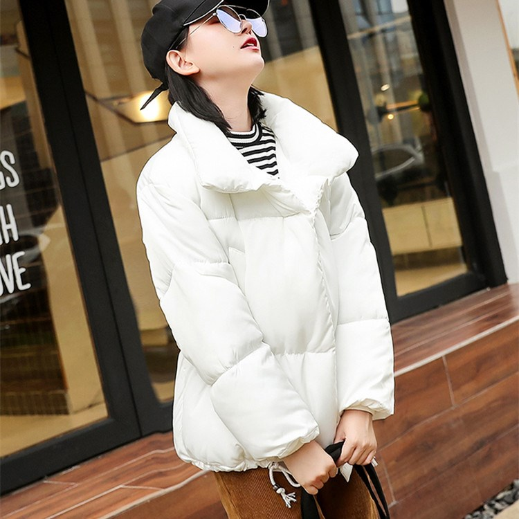 Women Autumn Winter Turn-Down Collar Solid   Parkas   Casual Turtleneck Cotton Jacket Button Warm Cotton Padded Coat