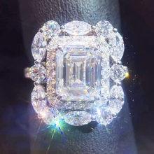 Joyería YaYI de corte de la princesa 15 CT circón blanco de Color plata anillos de compromiso anillos de corazón para boda fiesta anillos regalos 1417