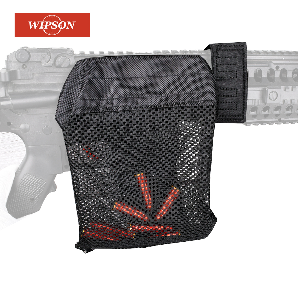 WIPSON Tactical Accessories AR 15 Ammo Brass Shell Catcher Zippered Closure Quick Unload Nylon Mesh Black For Shooting