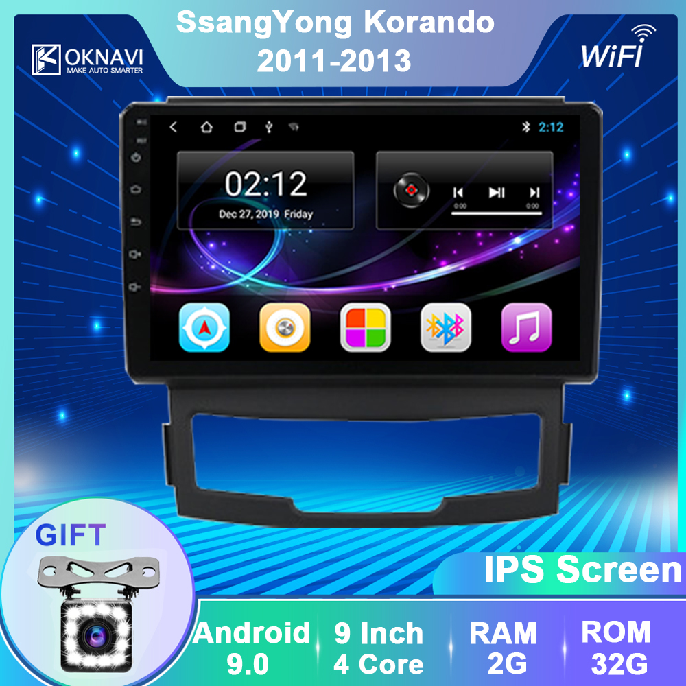 OKNAVI Android 9.0 Car Multimedia Video Player Navigation GPS For SsangYong Korando Actyon 2011 2012 2013 IPS 2.5D 2 Din No DVD image
