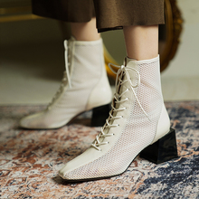 Leather fashion high-heeled sandals 2020 summer new front lace back zipper mesh boots wild square head thick heel sandals Z958 lace up back block heeled boots