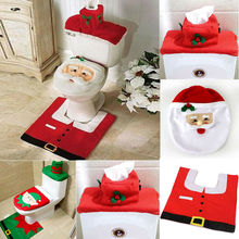 3 Pcs Christmas Toilet Seat and Cover Santa Claus Bathroom Mat Xmas Decor Rug Home Decoration