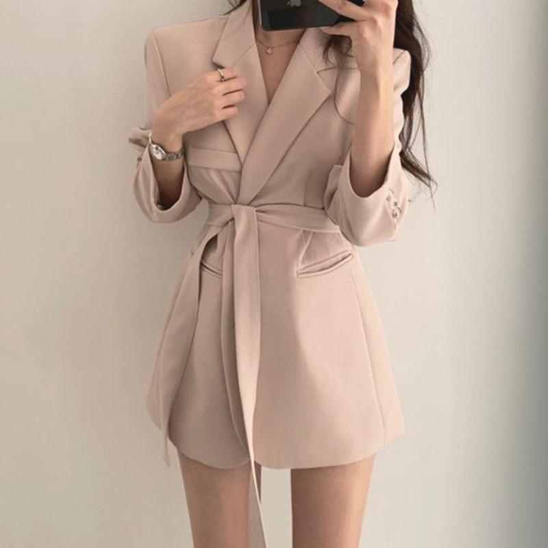 Autumn and winter ladies long-sleeved casual blazer pure color belt ladies slim blazer office ladies formal blazer