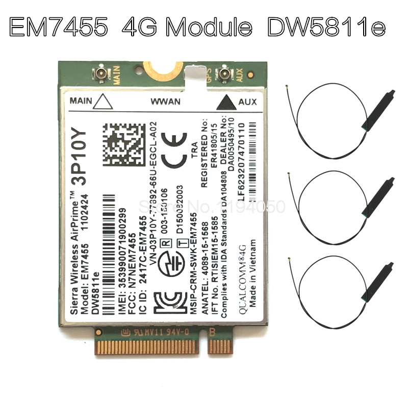 Беспроводной модуль EM7455 LTE 4G NGFF DW5811E 3P10Y 300 M para E7270 E7470 E7370 E5570 Sem Fio FDD/TDD LTE 4G Cat6 Gobi6000 + ANTEN