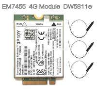 Wireless EM7455 LTE 4G NGFF Modulo DW5811E 3P10Y 300 M para E7270 E7470 E7370 E5570 Sem Fio FDD/ TDD LTE 4G Cat6 Gobi6000 + ANTEN