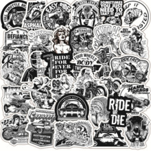 Trolley Graffiti Sticker Motorcycle Black Waterproof Wholesale Case Toy Car Classic And