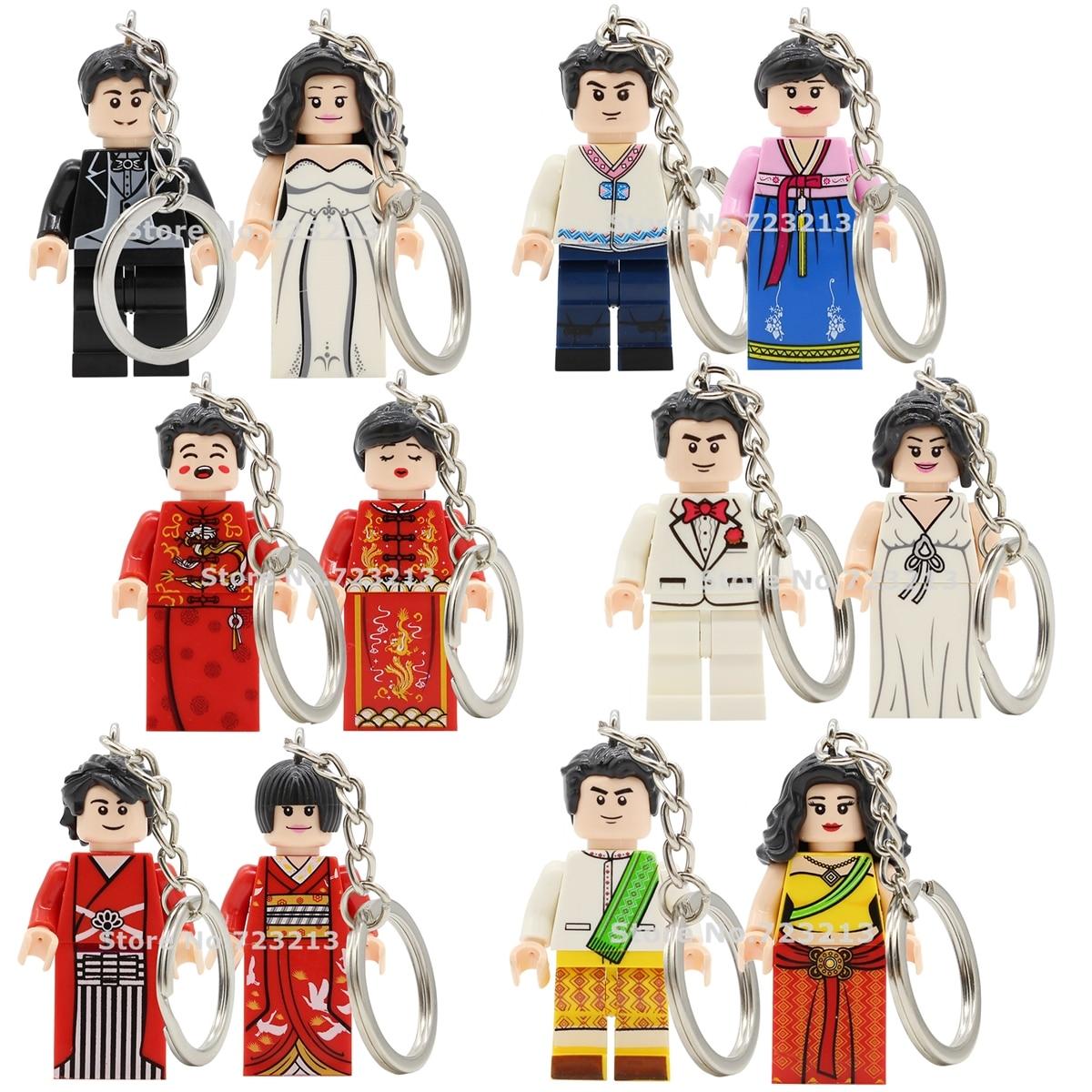 Couple Bride Bridegroom Keychain Figure Set JP Korea India Europe Wedding Gift Key Ring Building Blocks Bricks Toys