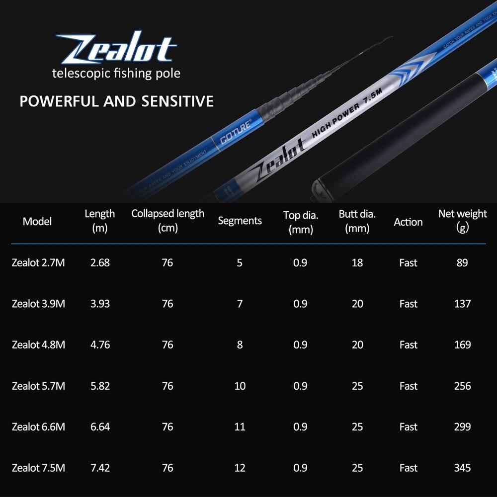 Image 3 - Goture Zealot Telescopic Fishing Rod Carbon Fiber 24T+30T 2.7 7.5M Carp Fishing Rod 2/8 Action Hard Hand Pole Stream Feeder RodFishing Rods   -