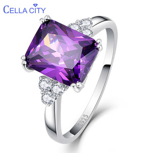 Cellacity 925 Sterling Silver Amethyst Rings For Women With 8*10mm Gemstone Engagement Rings For Women Fine Jewelry Size 6-10