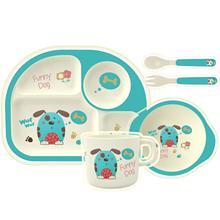 5 шт./компл. набор посуды для детей бамбуковый детский обеденный набор с тарелкой/чашей/чашкой/ложкой/вилкой набор посуды для ребенка