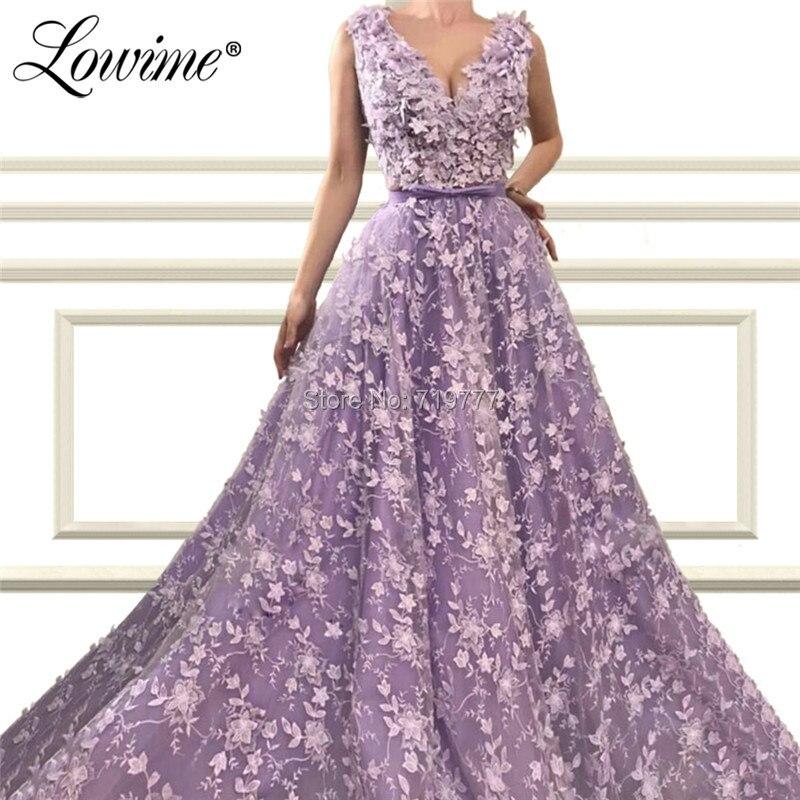 Purple Flower Applique   Evening     Dresses   Saudi Arabic V Neck Prom   Dress   2019 Aibye Party Gowns Robe De Soiree African Women   Dress