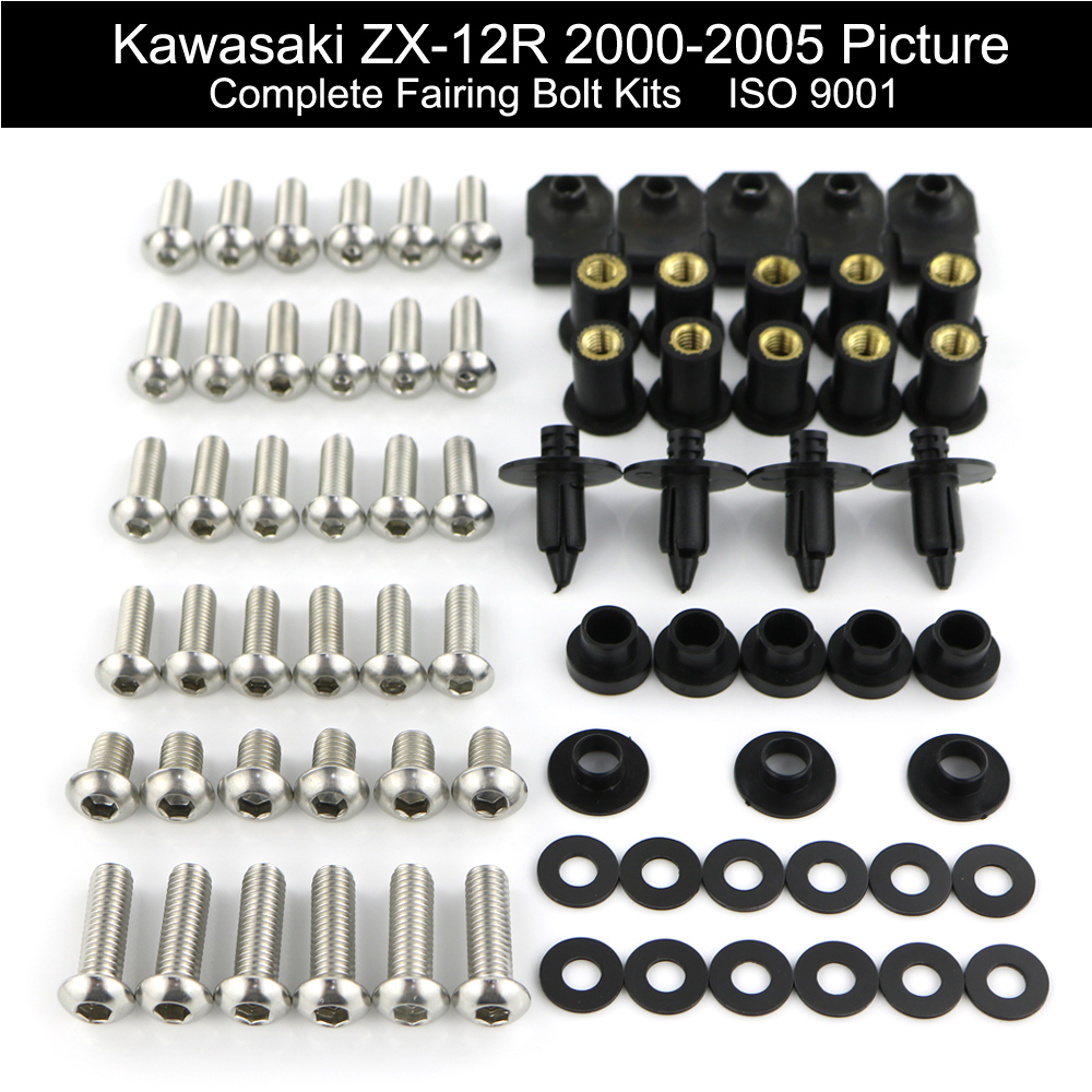 For Kawasaki ZX12R ZX-12R 2000 2001 2002 2003 2004 2005 Motorcycle Full Fairing Bolts Kit Clips Nuts Body Screw Stainless Steel