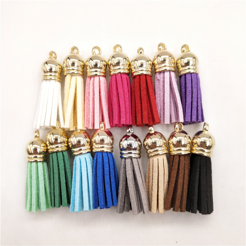 12pcs Velvet Tassel Pendant Charms Bag Key Chain Craft DIY Embellishment 4cm