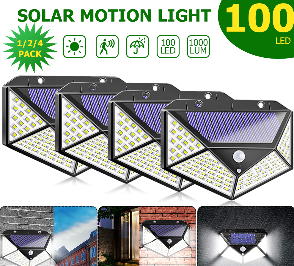 4/2/1pcs 100 LED Solar Light Outdoor Solar Lamp Powered Sunlight 3 Modes PIR Motion Sensor For Garden Decoration Wall Street