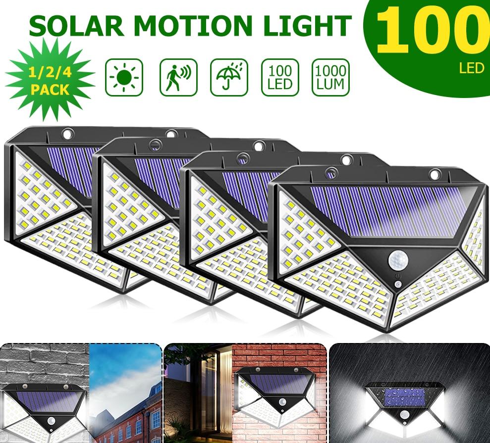 4/2/1pcs 100 LED Solar Light Outdoor Solar Lamp Powered Sunlight 3 Modes PIR Motion Sensor For Garden Decoration Wall Street