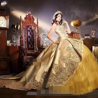 2019 Gold Quinceanera Dresses with Detachable Skirt Lace Appliques Beads Tiered Sweetheart 16 Sweet Party Gowns vestido 15 anos