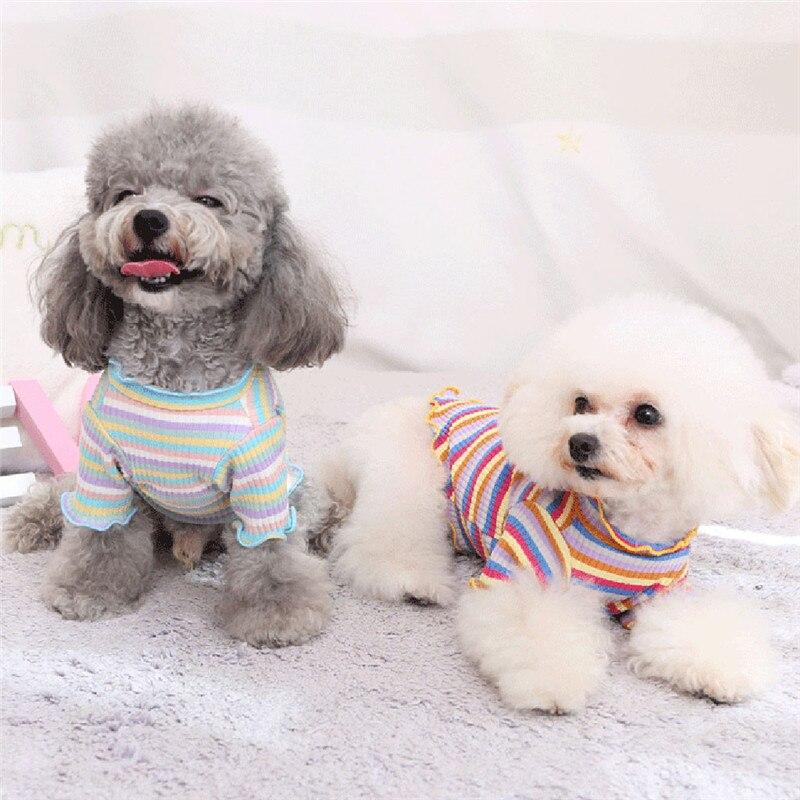 Dog Clothes Winter Warm Pet Dog Jacket Pets Dog Clothes Puppy Vest T-shirt Shirt Cute Rainbow Pajamas Cat Winter 2020 @5