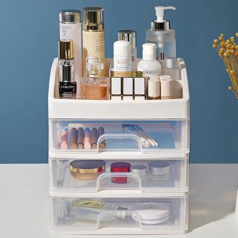 caixa de armazenamento plastica cosmetica do revestimento do armario da gaveta dos artigos de papelaria