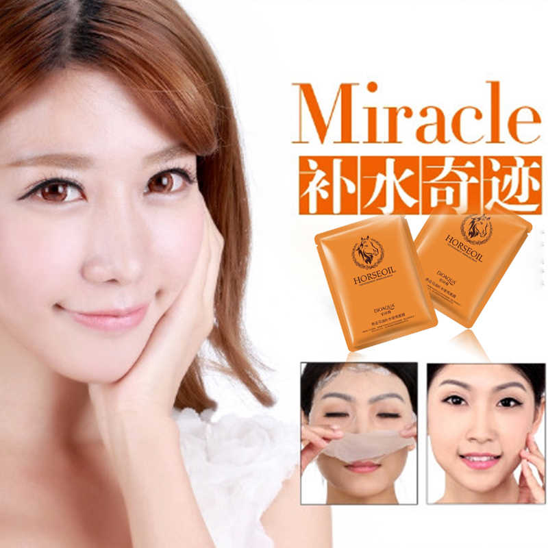Máscara de hoja coreana crema blanqueadora de piel de aceite de caballo para tratamientos de blanqueamiento de piel oscura máscaras Cuidado del rostro BIOAQUA