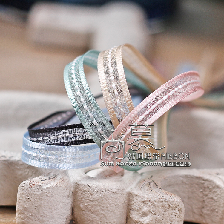 100yards 7mm satin edge middle stitched ribbon organza sheer ribbon for hair band headband diy accessories gift packing bow in Ribbons from Home Garden