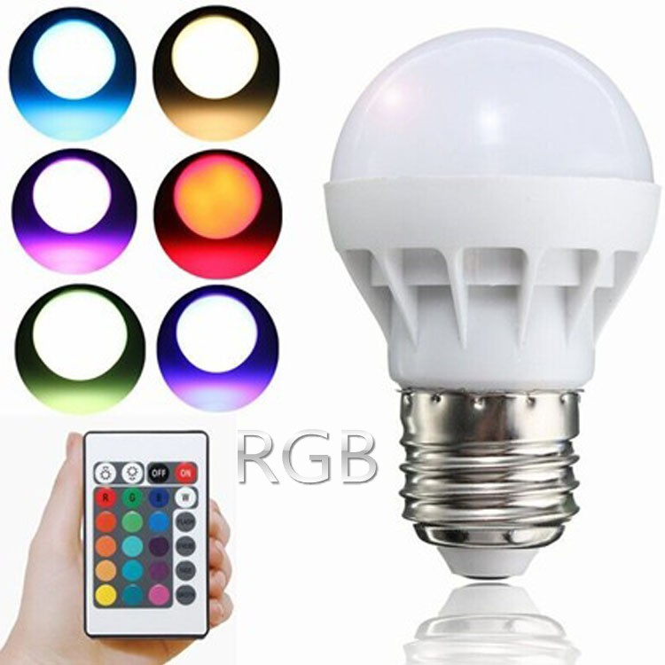E27 E14 B22 LED 16 Color Dimmable RGBW Changing RGB + White Magic Light Desk Bulb AC85-265V Led Lamp 8W + Remote Control