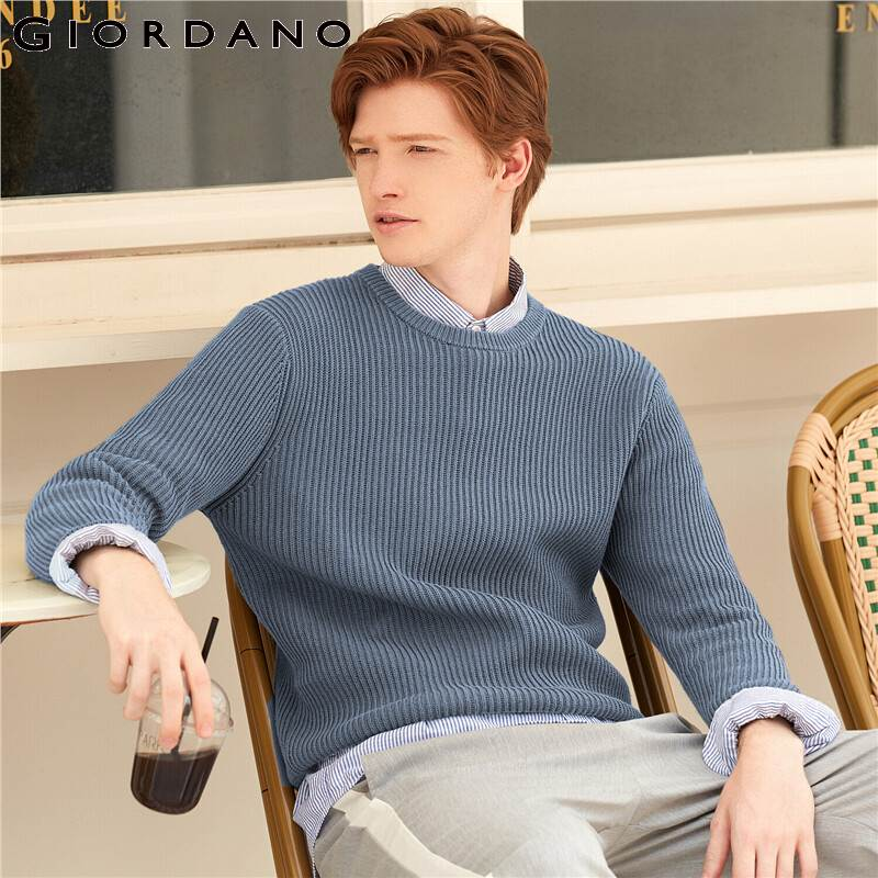 Giordano Men Sweaters Crewneck Long Sleeve Knitted Sweaters 7 Needle Knitting Soild Color Warm Fit Sueter Hombre 01059868