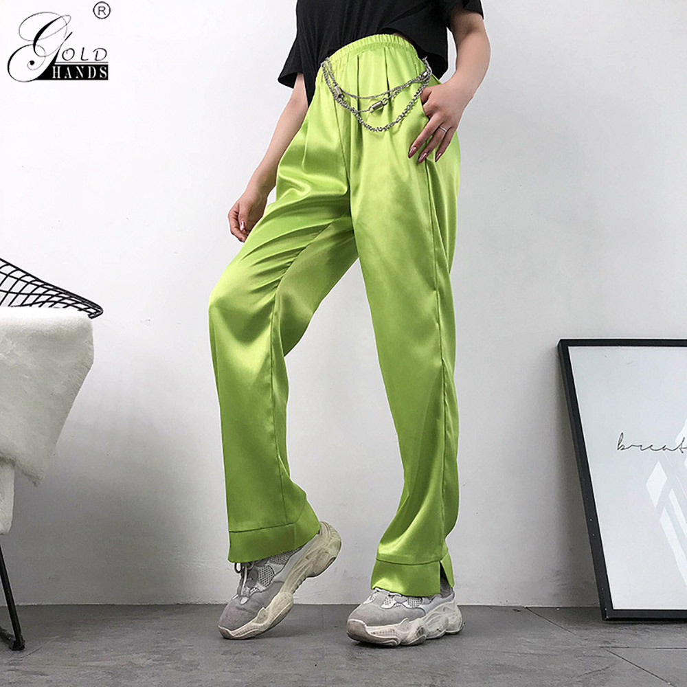 Gold Hands 2019 New Women Casual Neon Green High Waist   Pants     Capri   Straight Ladies Trousers Pockets Streetwear Loose Satin   Pants
