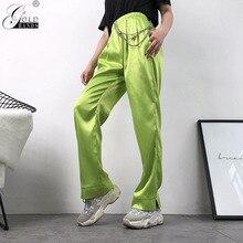 Gold Hands 2019 New Women Casual Neon Green High Waist Pants Capri