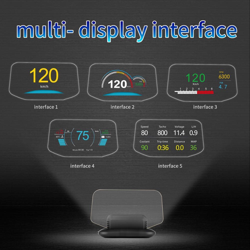 Новейший дисплей OBD Автомобильная электроника HUD Дисплей автомобильные спидометры Предупреждение 1 предупреждение о превышении скорости ... - 2