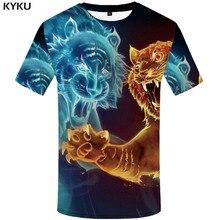 купить KYKU Tiger T shirt Men Flame T-shirts 3d Animal Tshirt Printed War Funny T shirts Yin Yang Tshirts Casual Mens Clothing дешево